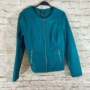 Alfani faux leather teal jacket size medium